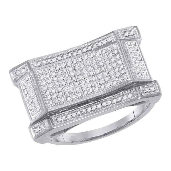 Men's 1/2 Ct Diamond Pave-set Concave Rectangle Cluster Ring in 10K White Gold