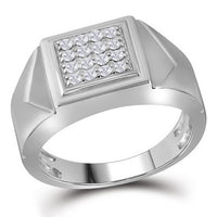 10K White Gold Mens Round Diamond Square Cluster Faceted Fashion Ring 1/3 Ct