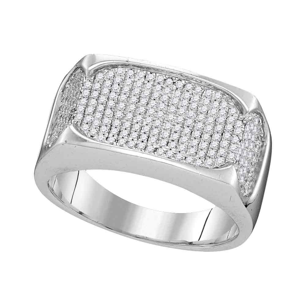 10K White Gold Mens Round Diamond Rectangle Flat Cluster Ring 1/2 Ct