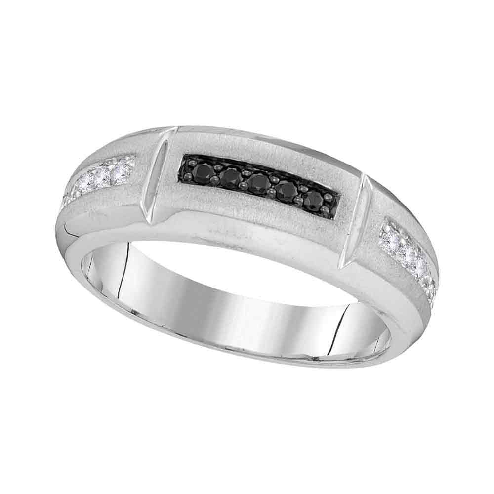 10K White Gold Mens Round Black Color Enhanced Diamond Notched Band Ring 1/4 Ct