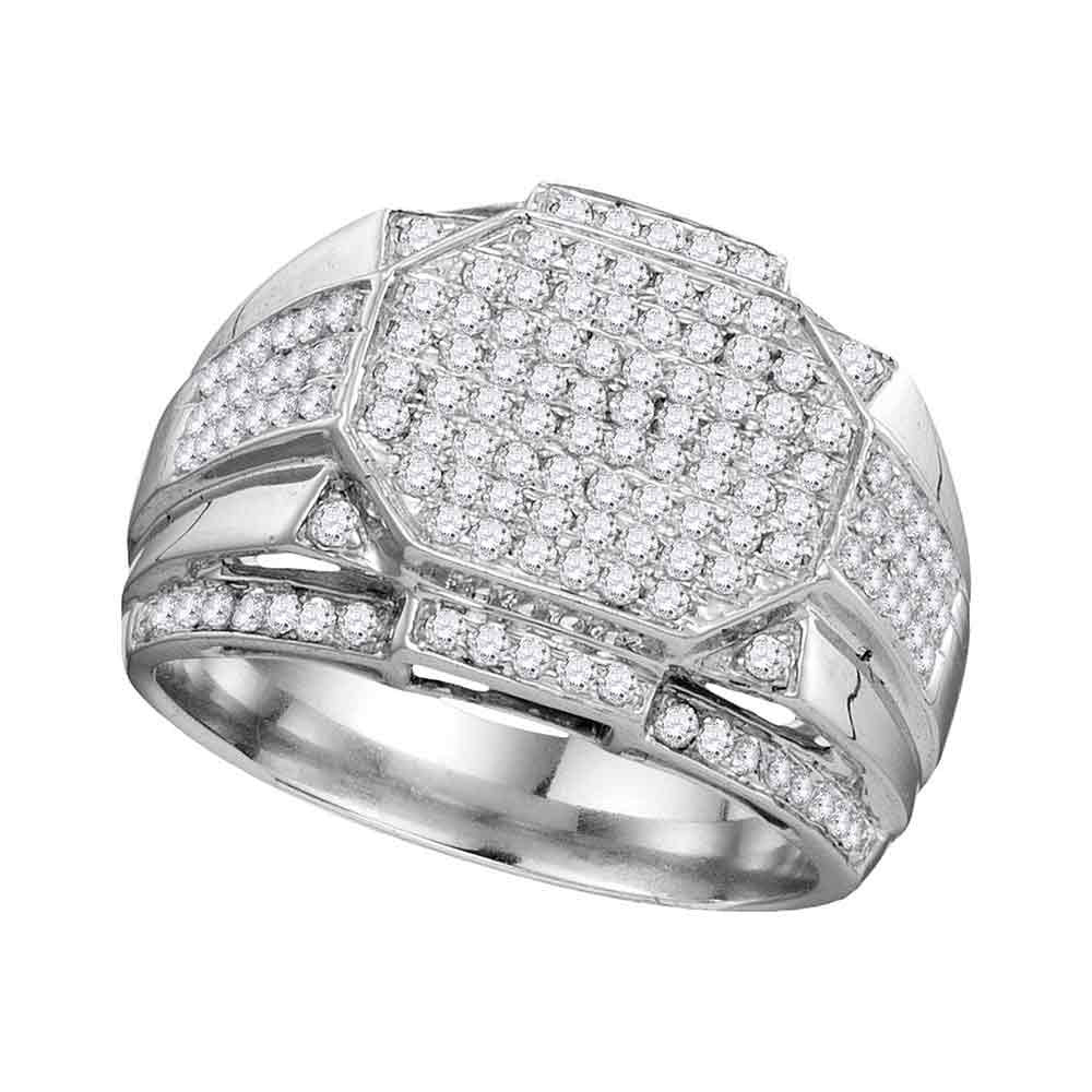 10K White Gold Mens Round Diamond Polygon Octagon Cluster Ring 1-1/2 Ct
