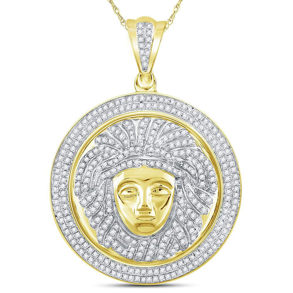 10K Yellow Gold Men's Diamond Gorgon Medusa Circle Medallion Charm Pendant 1.00 Ct