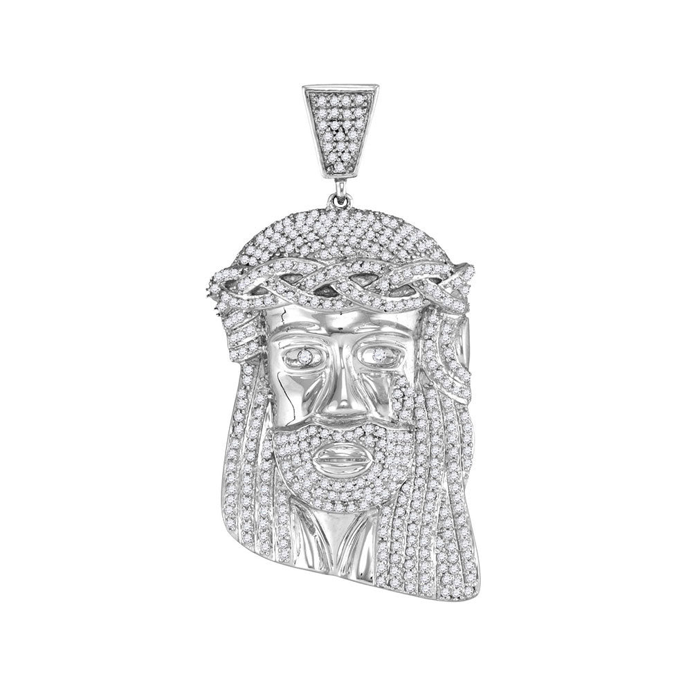 10K White Gold Men's Diamond Jesus Head Messiah Charm Pendant 1-1/3 Ct