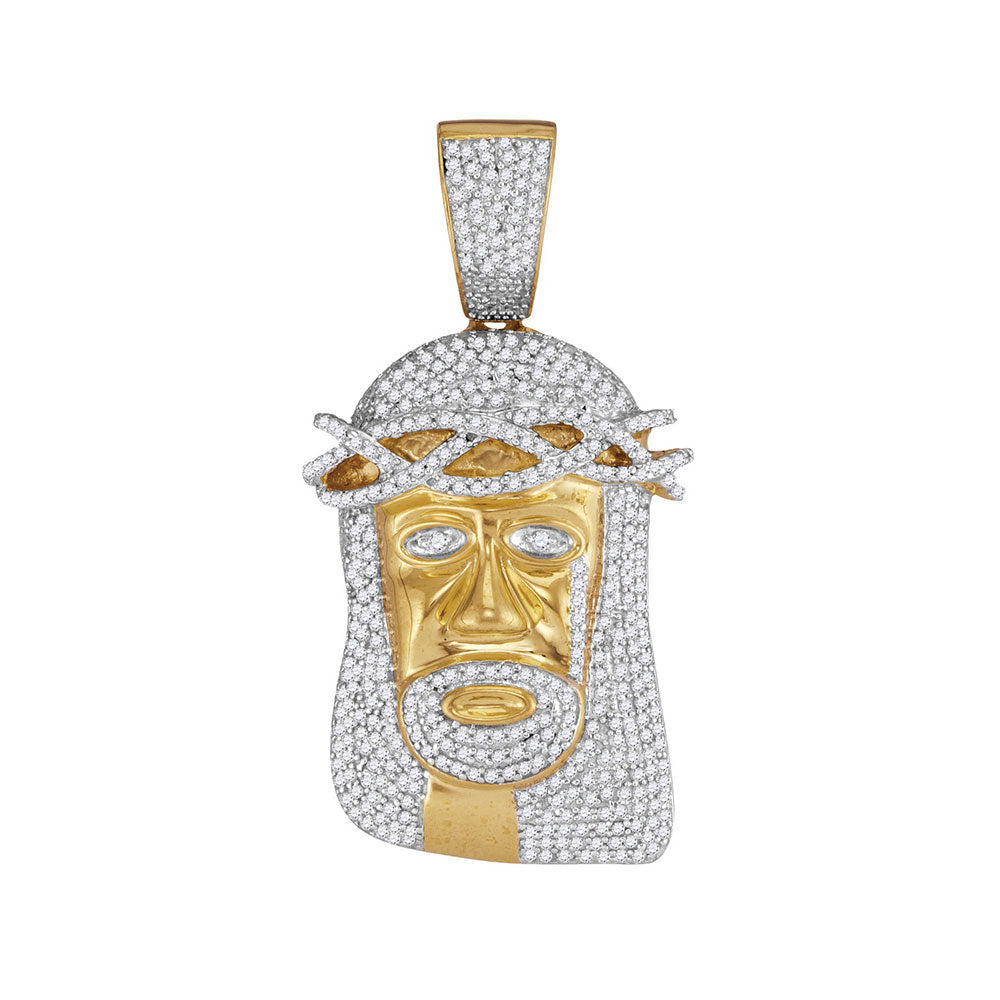 10K Yellow Gold Men's Diamond Jesus Head Messiah Charm Pendant 1-1/5 Ct