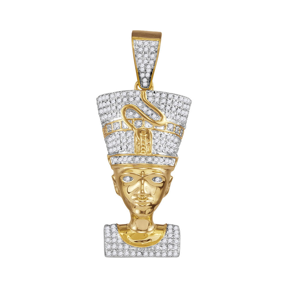 10K Yellow Gold Men's Diamond Nefertiti Pharaoh Charm Pendant 5/8 Ct