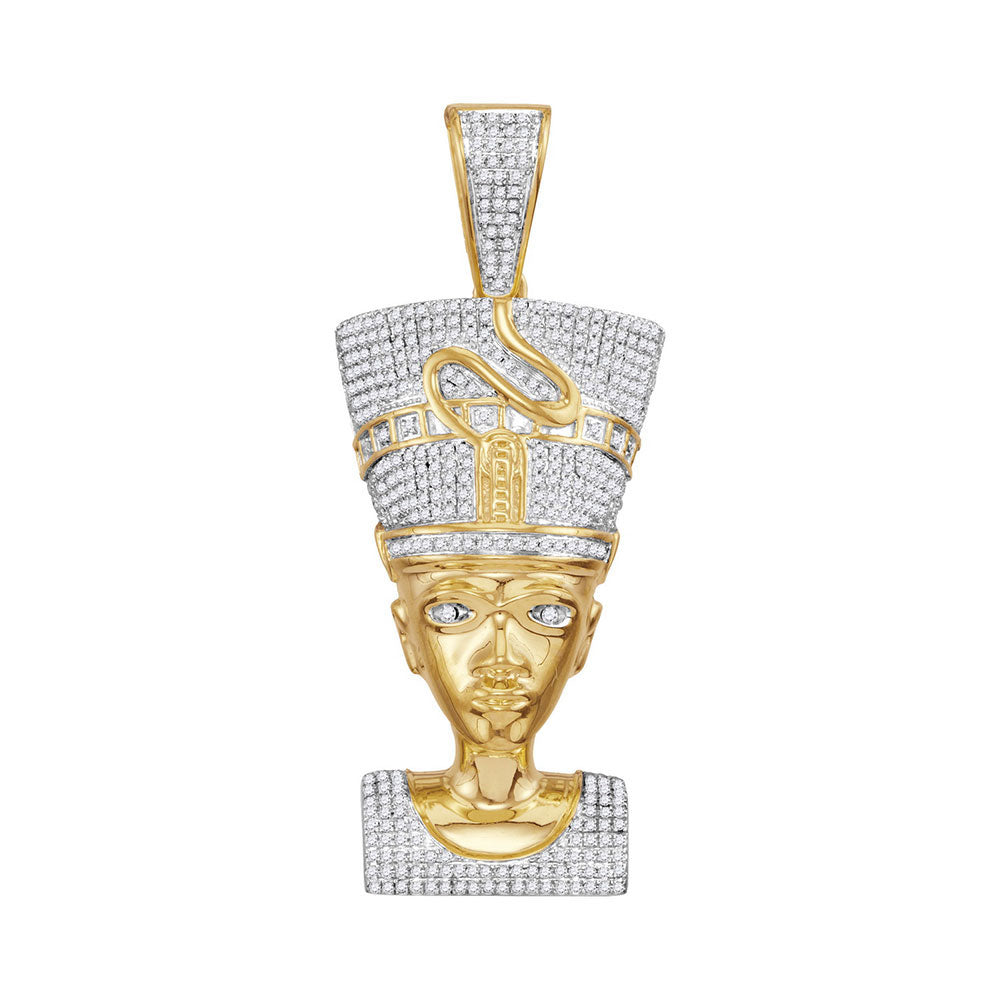 10K Yellow Gold Men's Diamond Nefertiti Pharaoh Charm Pendant 1-1/3 Ct