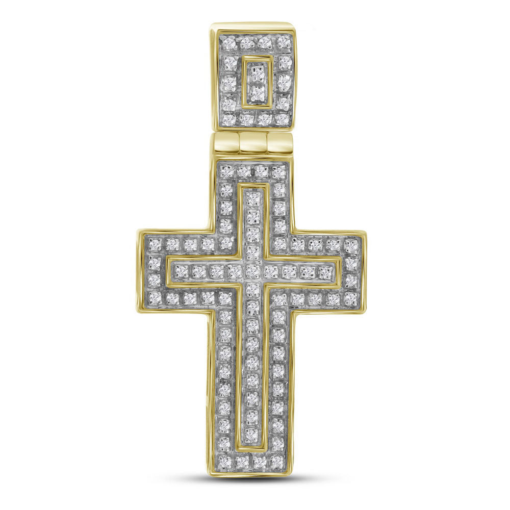 10K Yellow Gold Men's Diamond Layered Christian Cross Charm Pendant 1/4 Ct