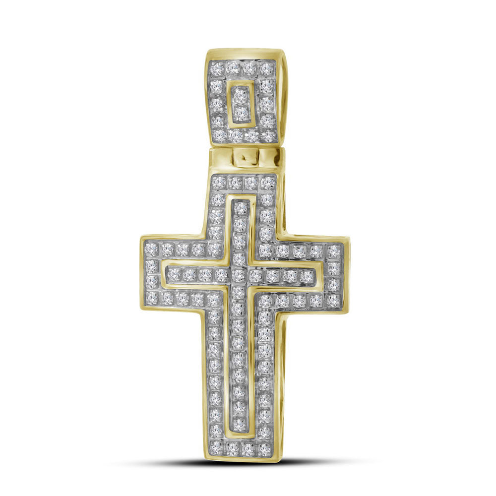 10K Yellow Gold Men's Diamond Christian Cross Layered Charm Pendant 1/4 Ct