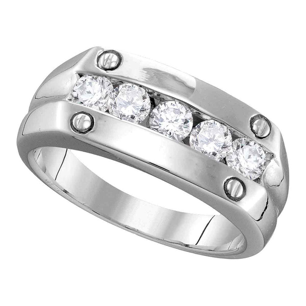 10K White Gold Mens Round Diamond Screw Band Ring 1.00 Ct
