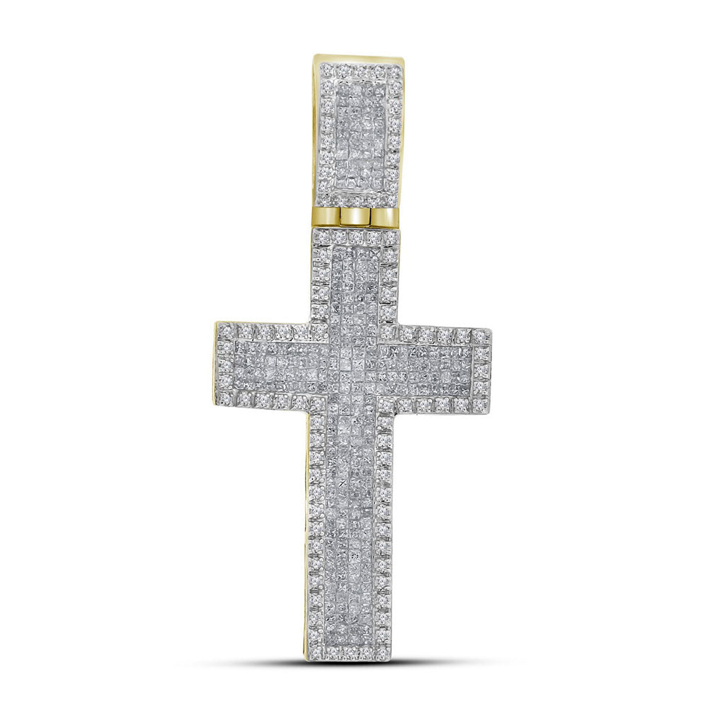 10K Yellow Gold Men's Princess Diamond Inset Christian Cross Charm Pendant 1-5/8 Ct