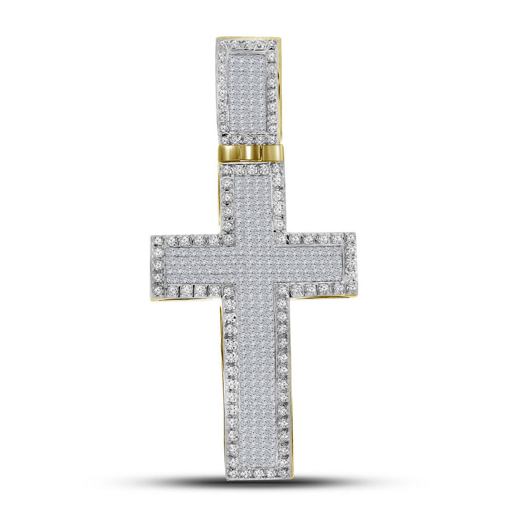 10K Yellow Gold Men's Princess Diamond Inset Christian Cross Charm Pendant 1-3/4 Ct