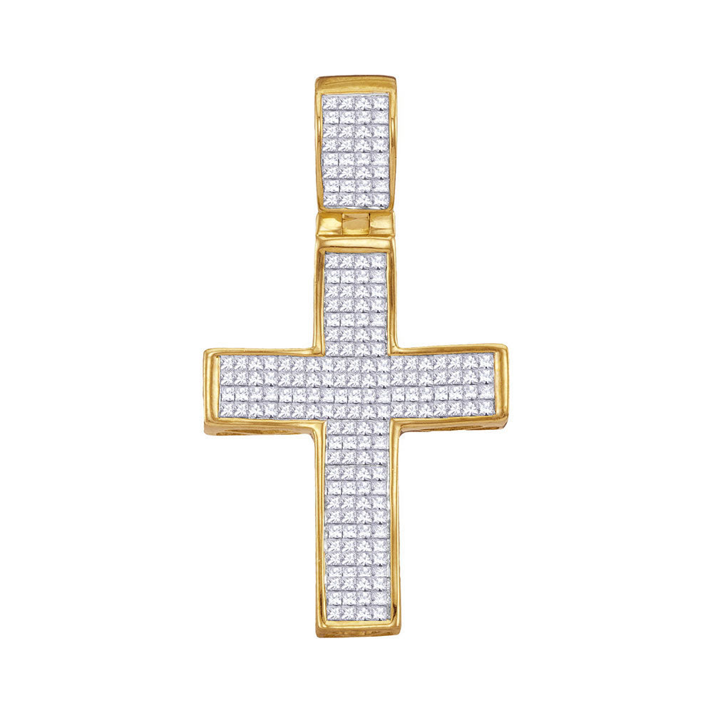10K Yellow Gold Men's Princess Diamond Christian Cross Charm Pendant 1-1/2 Ct
