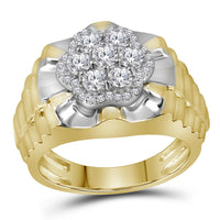 10K Two-tone Yellow White Gold Mens Round Diamond Flower Cluster Ribbed Ring 1.00 Ct