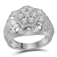 10K White Gold Mens Round Diamond Flower Cluster Ribbed Ring 1.00 Ct