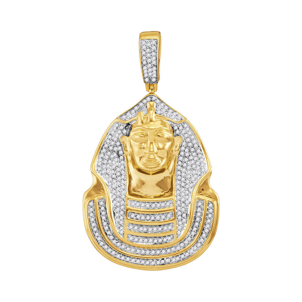 10K Yellow Gold Men's Diamond Pharaoh Cluster Charm Pendant 7/8 Ct