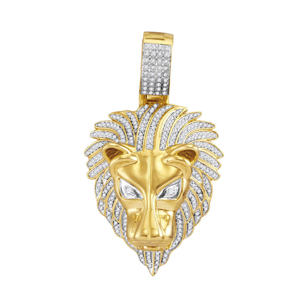 10K Yellow Gold Men's Diamond Lion Head Animal Charm Pendant 7/8 Ct