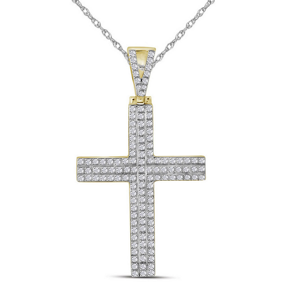 10K Yellow Gold Men's Diamond Cross Religious Charm Pendant 1/3 Ct