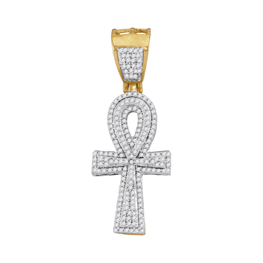 10K Yellow Gold Men's Diamond Ankh Cross Religious Charm Pendant 1/2 Ct