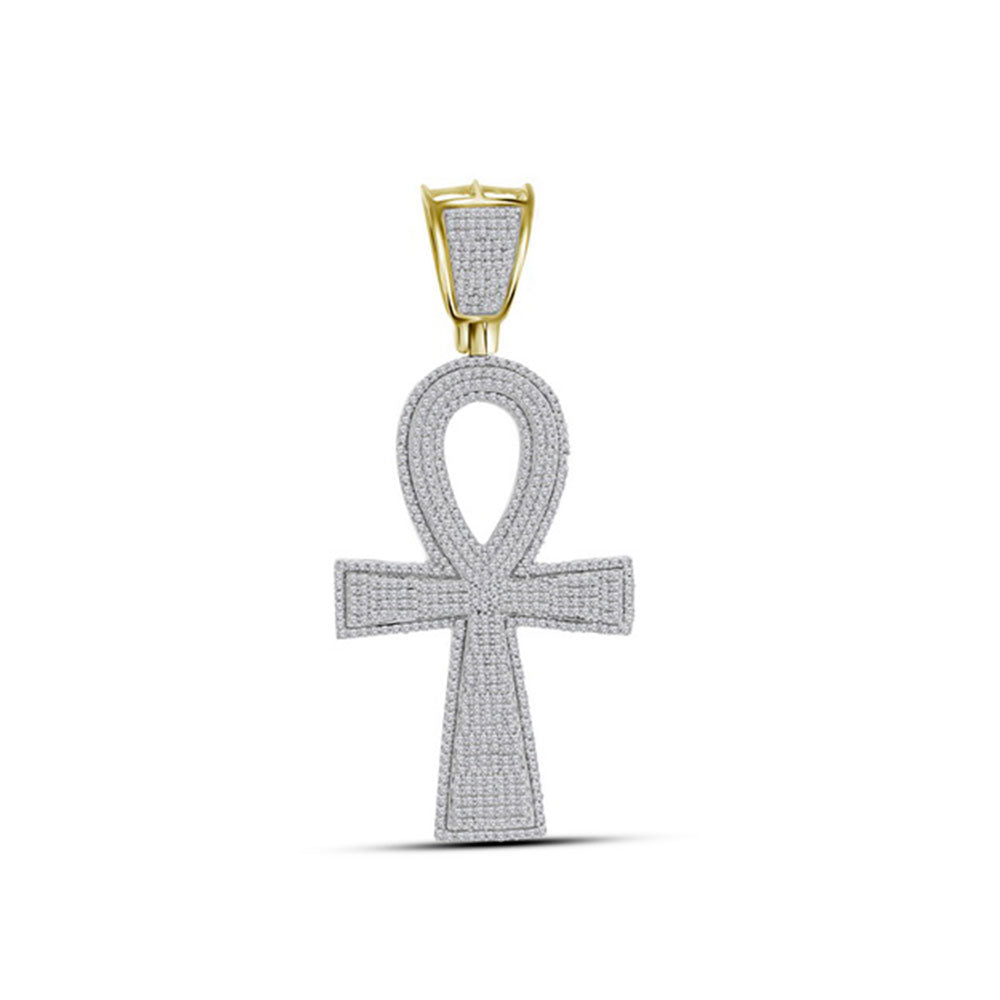 10K Yellow Gold Men's Diamond Ankh Cross Charm Pendant 1-1/2 Ct