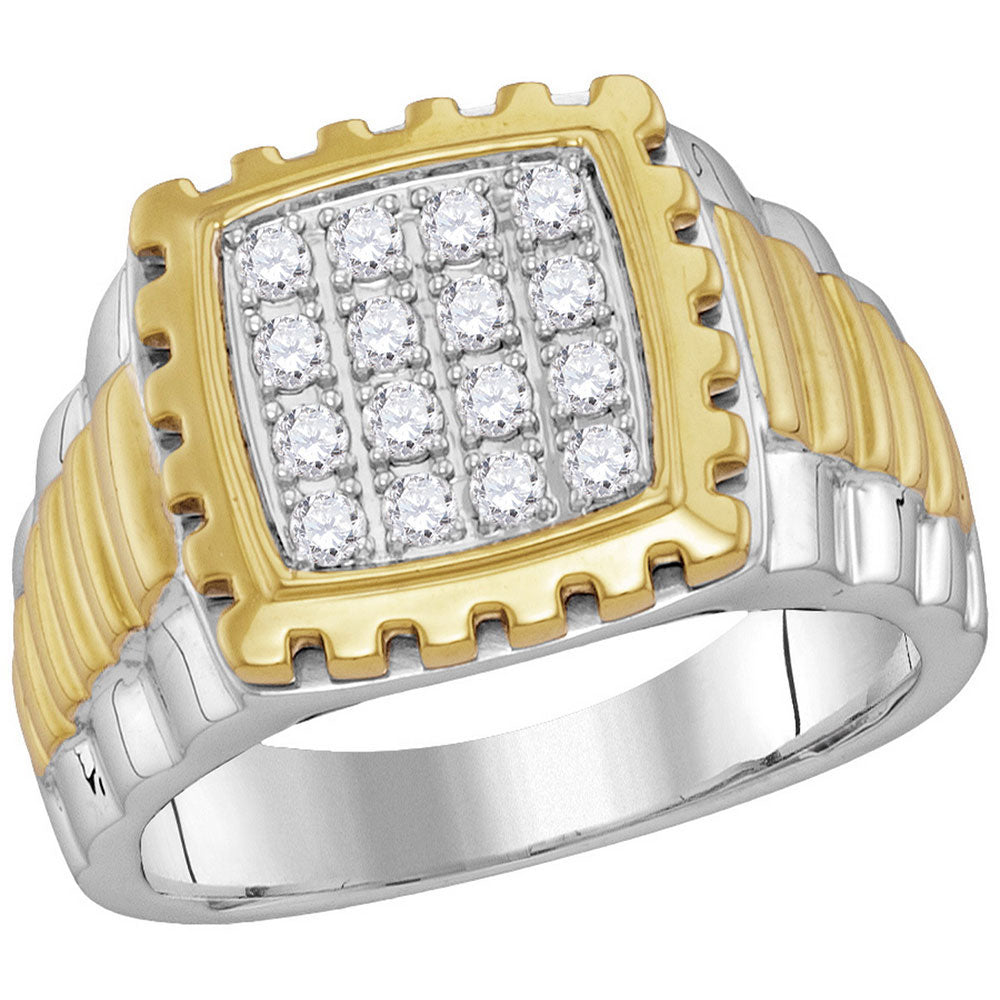 10K Two-tone Gold Mens Round Diamond Notched Frame Square Cluster Ring 1/2 Ct