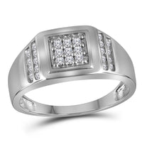 10K White Gold Mens Round Diamond Square Cluster Ring 1/4 Ct