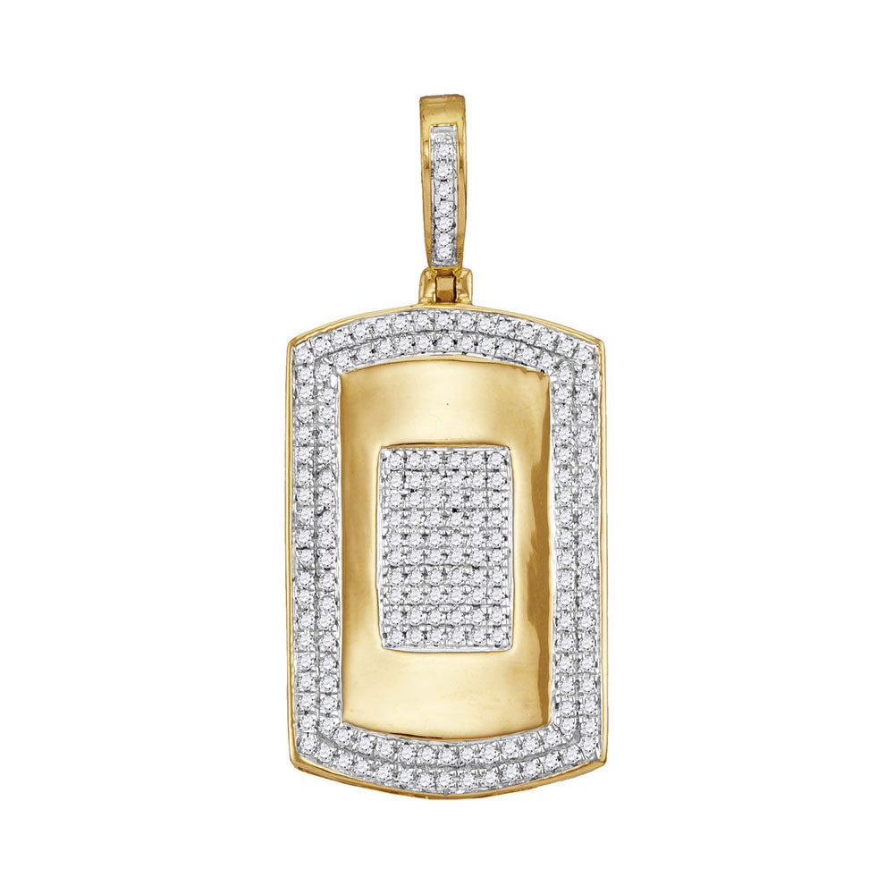 10K Yellow Gold Men's Diamond Framed Dog Tag Cluster Charm Pendant 1/2 Ct
