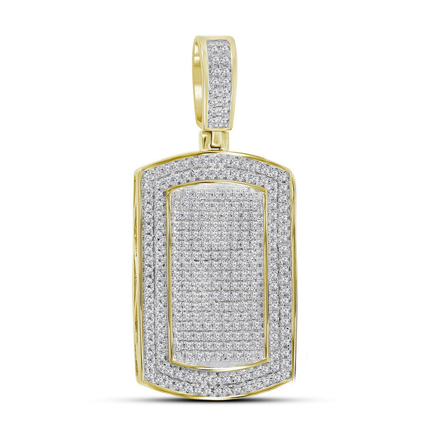 10K Yellow Gold Men's Diamond Dog Tag Charm Pendant 7/8 Ct