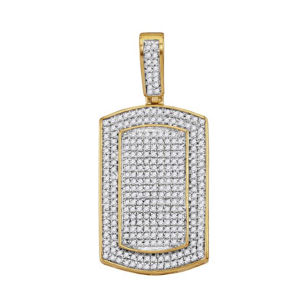 10K Yellow Gold Men's Diamond Framed Dog Tag Cluster Charm Pendant 7/8 Ct