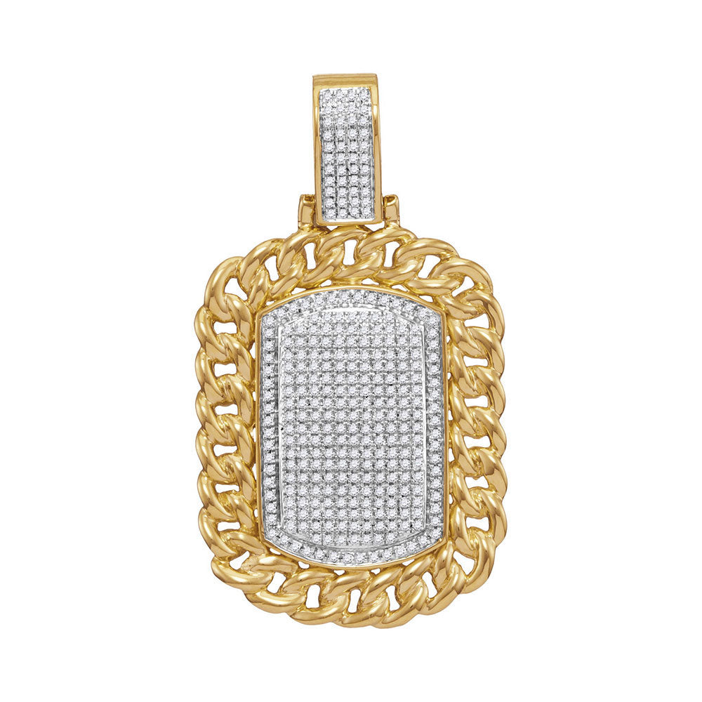 10K Yellow Gold Men's Diamond Cuban Link Frame Outline Dog Tag Cluster Charm Pendant 7/8 Ct