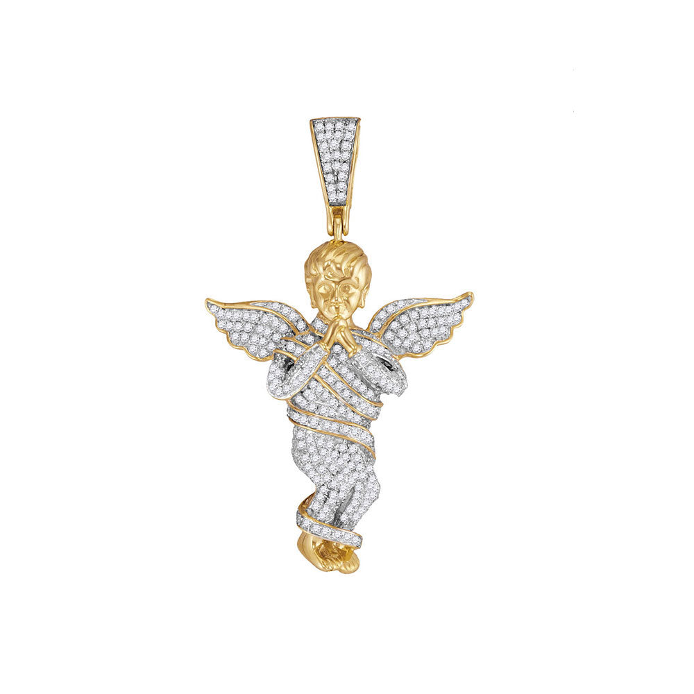 10K Yellow Gold Men's Diamond Praying Angel Wings Charm Pendant 7/8 Ct