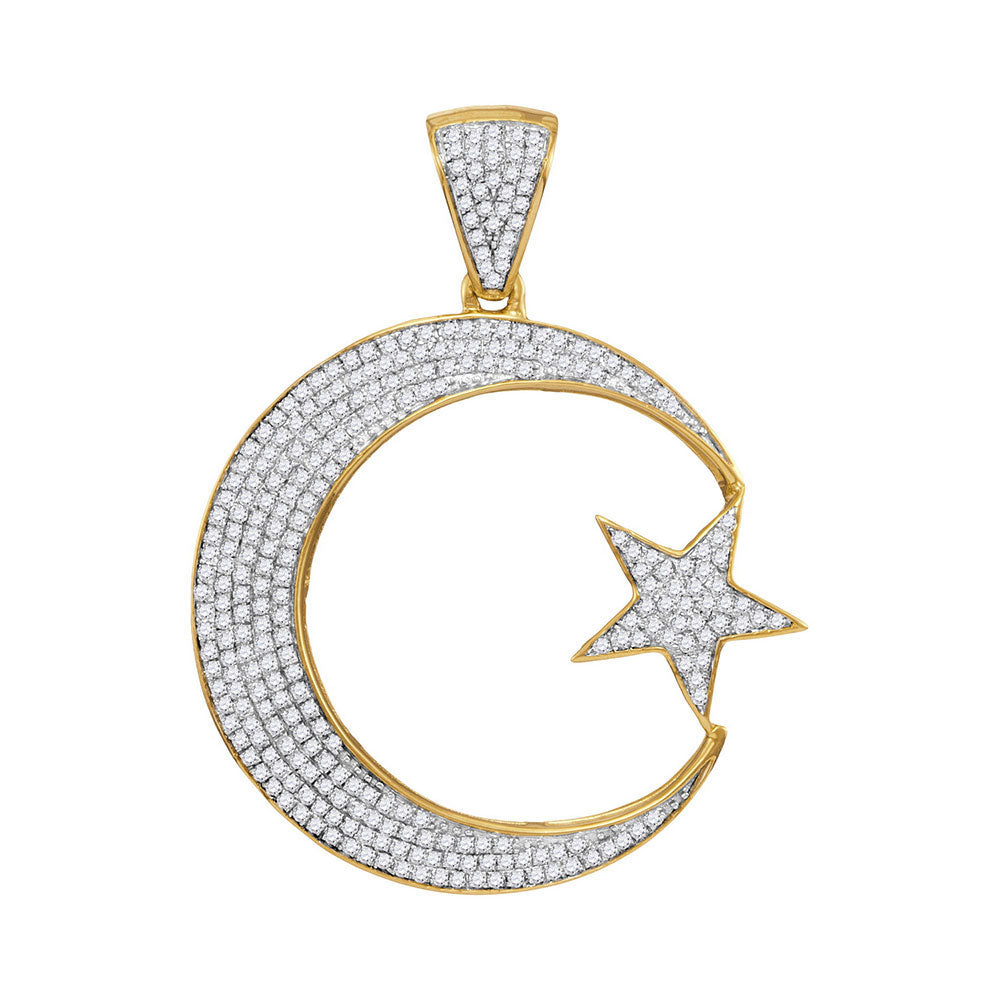 10K Yellow Gold Men's Diamond Star & Crescent Charm Pendant 3/4 Ct