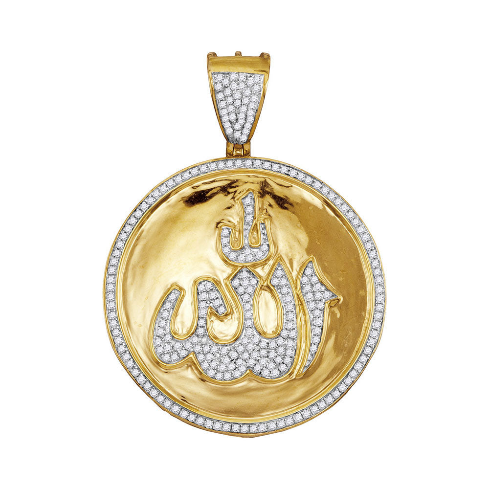 10K Yellow Gold Men's Diamond Allah Medallion Charm Pendant 3/4 Ct