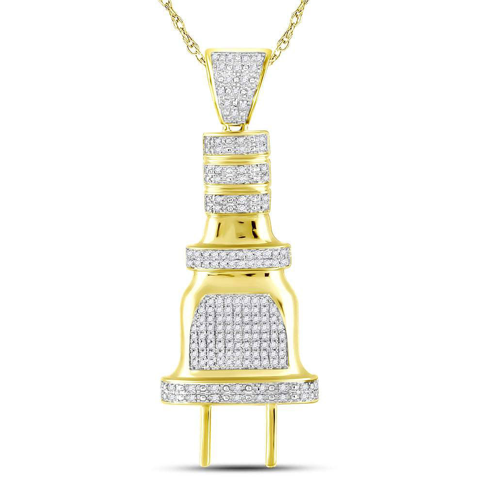 10K Yellow Gold Men's Diamond Electric Plug Socket Charm Pendant 1/2 Ct