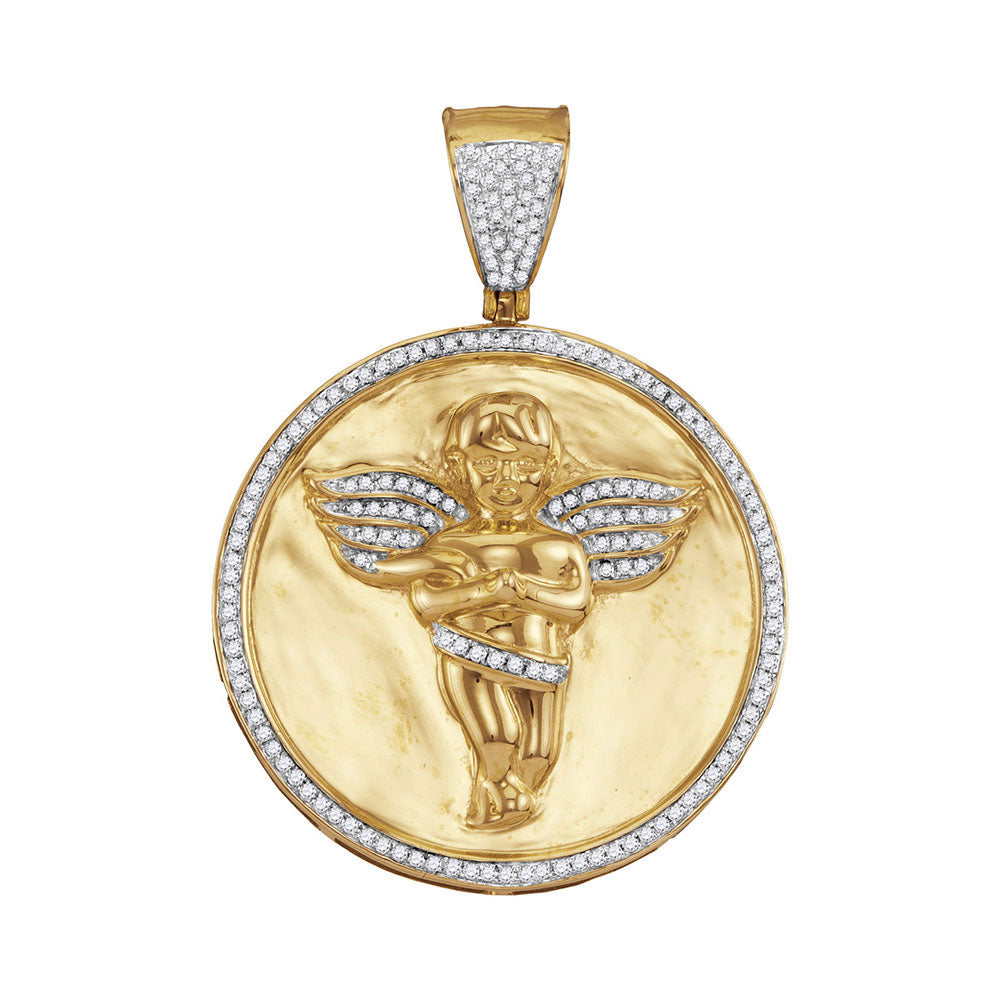 10K Yellow Gold Men's Diamond Circle Angel Cherub Medallion Charm Pendant 1/2 Ct