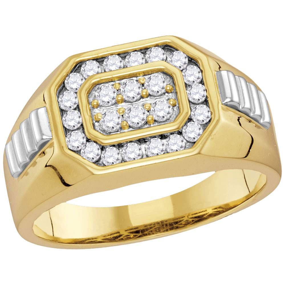 10K Two-tone Gold Mens Round Diamond Octagon Ribbed Cluster Ring 1/2 Ct
