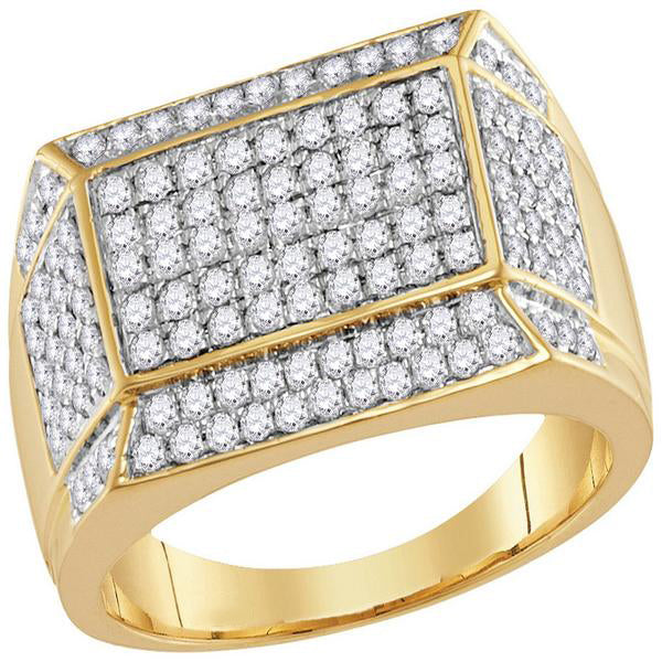 Men's 1-1/2 Ct Diamond Rectangle Cluster Ring in 14K Yellow Gold