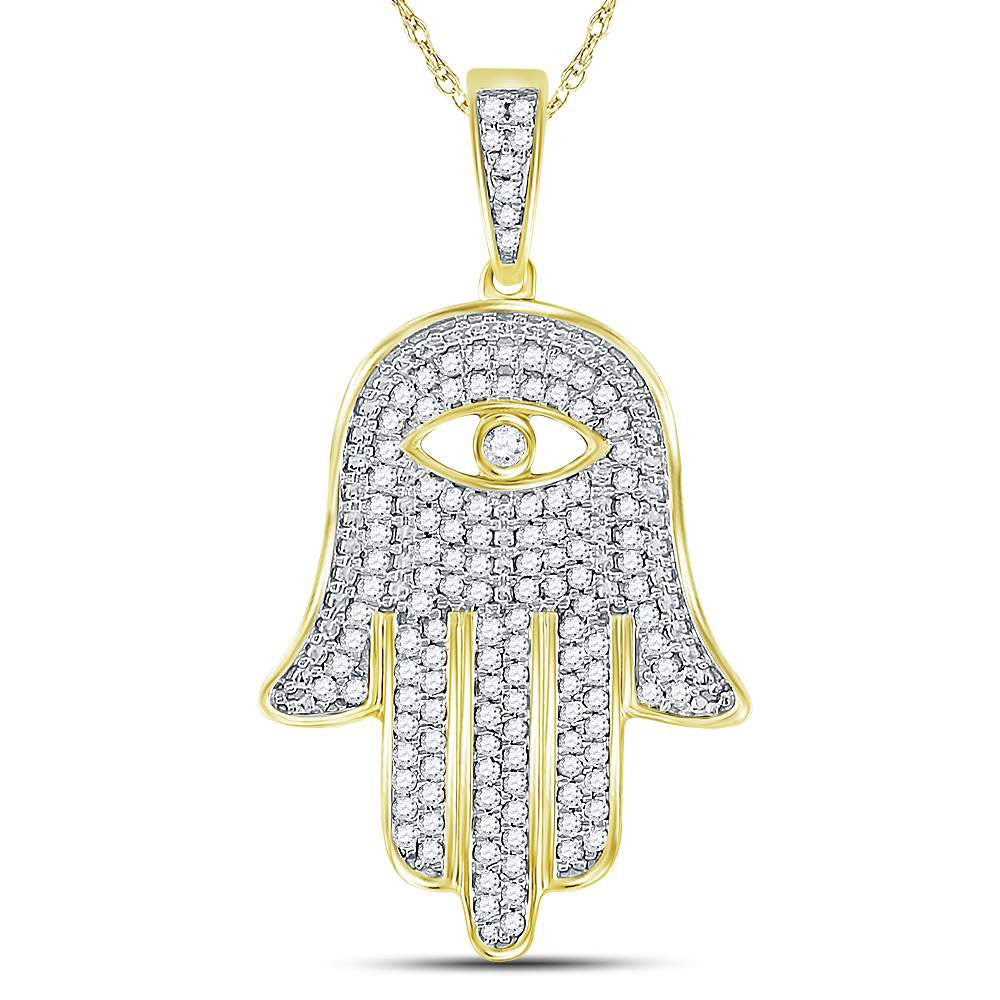 10K Yellow Gold Men's Diamond Eye of Fatima Hamsa Hand Charm Pendant 1/2 Ct