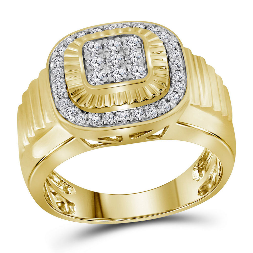 10K Yellow Gold Mens Round Diamond Square Frame Cluster Ribbed Ring 3/4 Ct