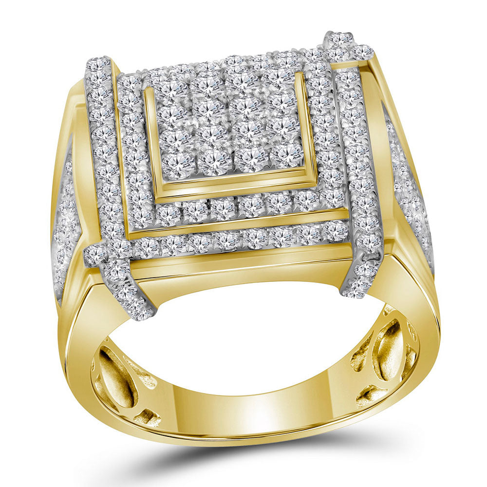 10K Yellow Gold Mens Round Diamond Square Cluster Ring 2-3/4 Ct