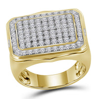 10K Yellow Gold Mens Round Diamond Rectangle Cluster Ring 2-3/4 Ct