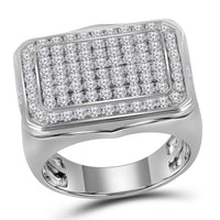 10K White Gold Mens Round Pave-set Diamond Rectangle Cluster Ring 2-3/4 Ct