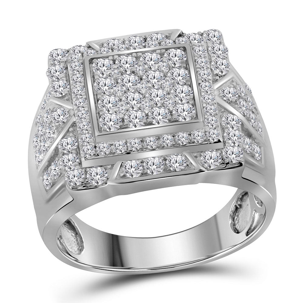 10K White Gold Mens Round Diamond Square Frame Cluster Ring 2-1/4 Ct