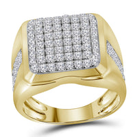 10K Yellow Gold Mens Round Diamond Square Cluster Fashion Ring 2.00 Ct