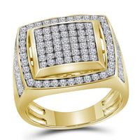 10K Yellow Gold Mens Round Pave-set Diamond Square Frame Cluster Ring 2.00 Ct