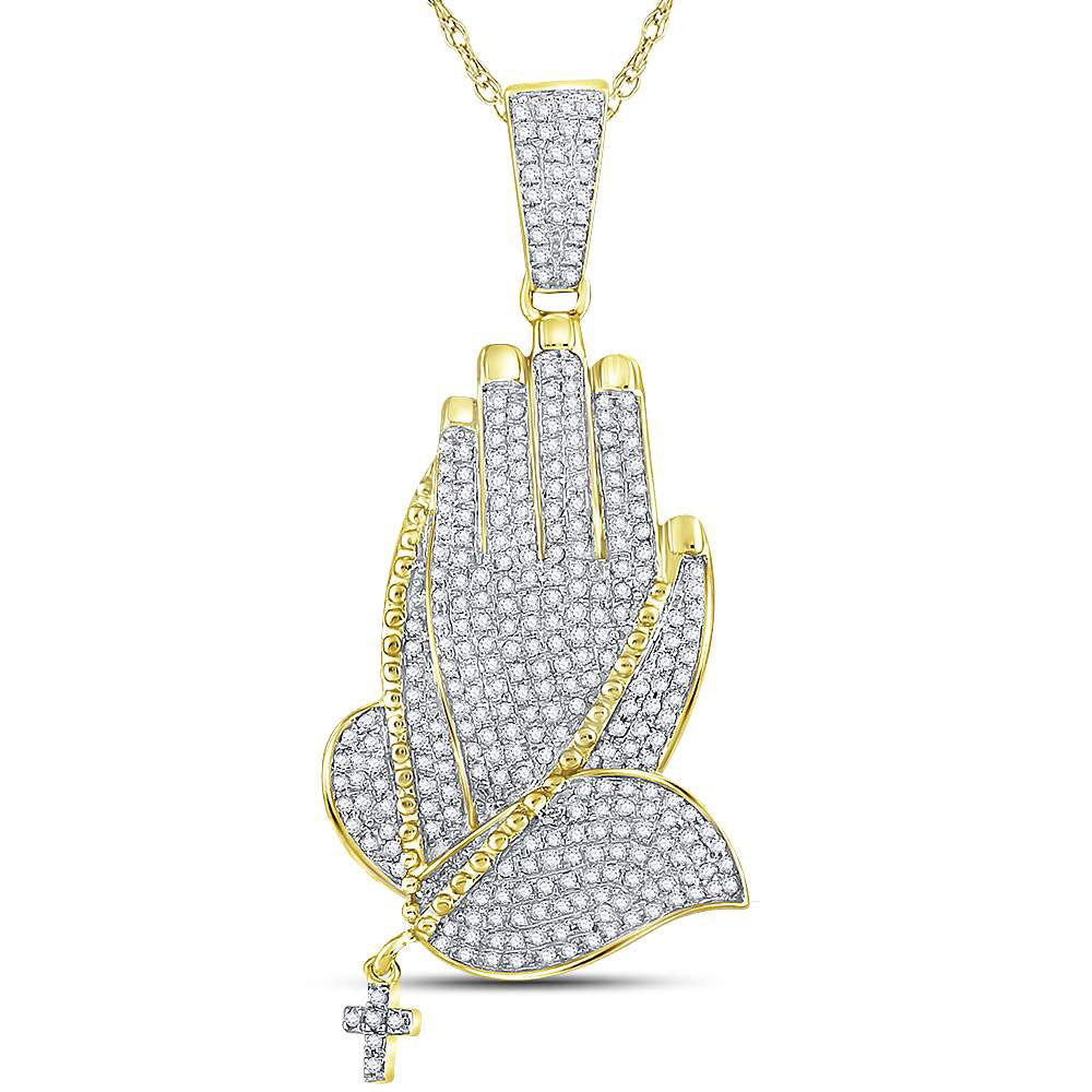 10K Yellow Gold Men's Diamond Praying Hands Rosary Charm Pendant 7/8 Ct