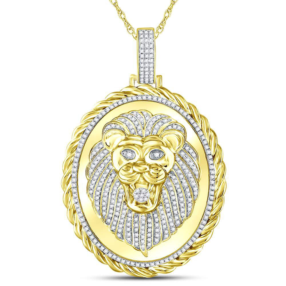 10K Yellow Gold Men's Diamond Oval Lion Face Rope Charm Pendant 1.00 Ct