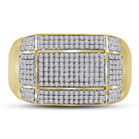 10K Yellow Gold Mens Round Diamond Rectangle Cluster Ring 3/4 Ct