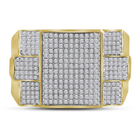 10K Yellow Gold Womens Round Diamond Symmetrical Square Cluster Ring 3/4 Ct