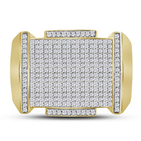 10K Yellow Gold Mens Round Diamond Pointed Symmetrical Cluster Ring 5/8 Ct