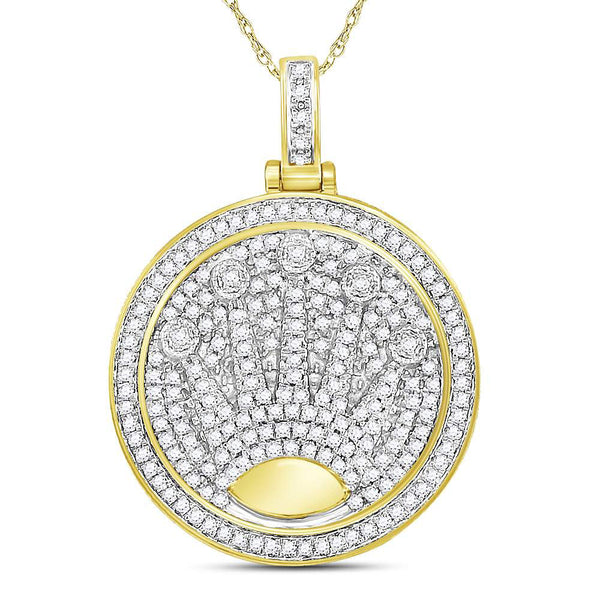 10K Yellow Gold Men's Diamond King Crown Charm Pendant 7/8 Ct